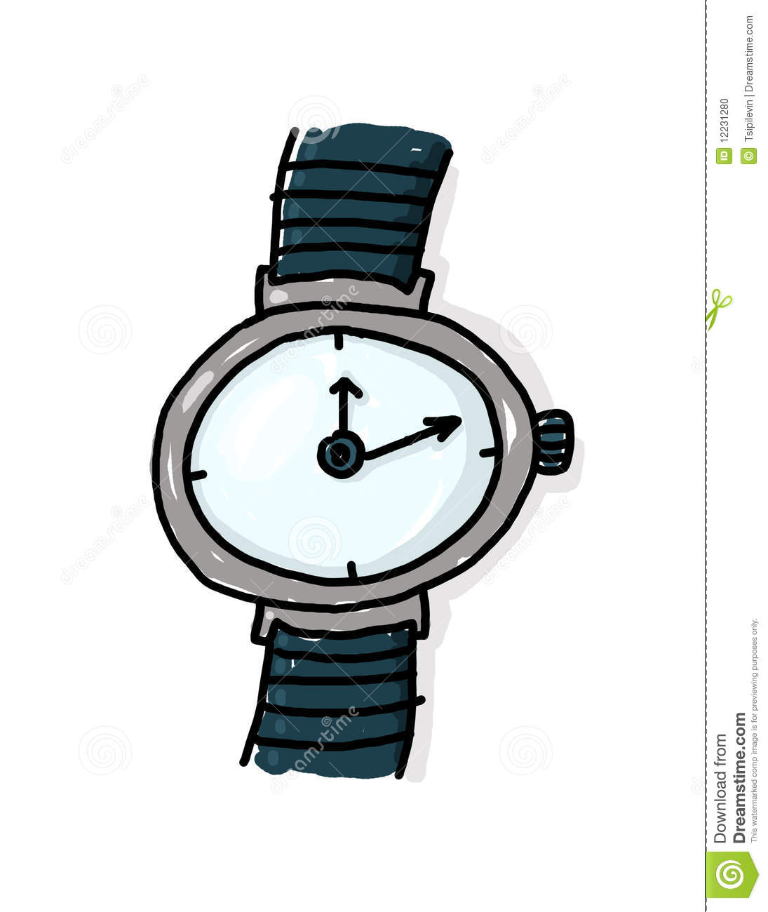 Wristwatch freehand illustration; Watch cartoon; Time concept.