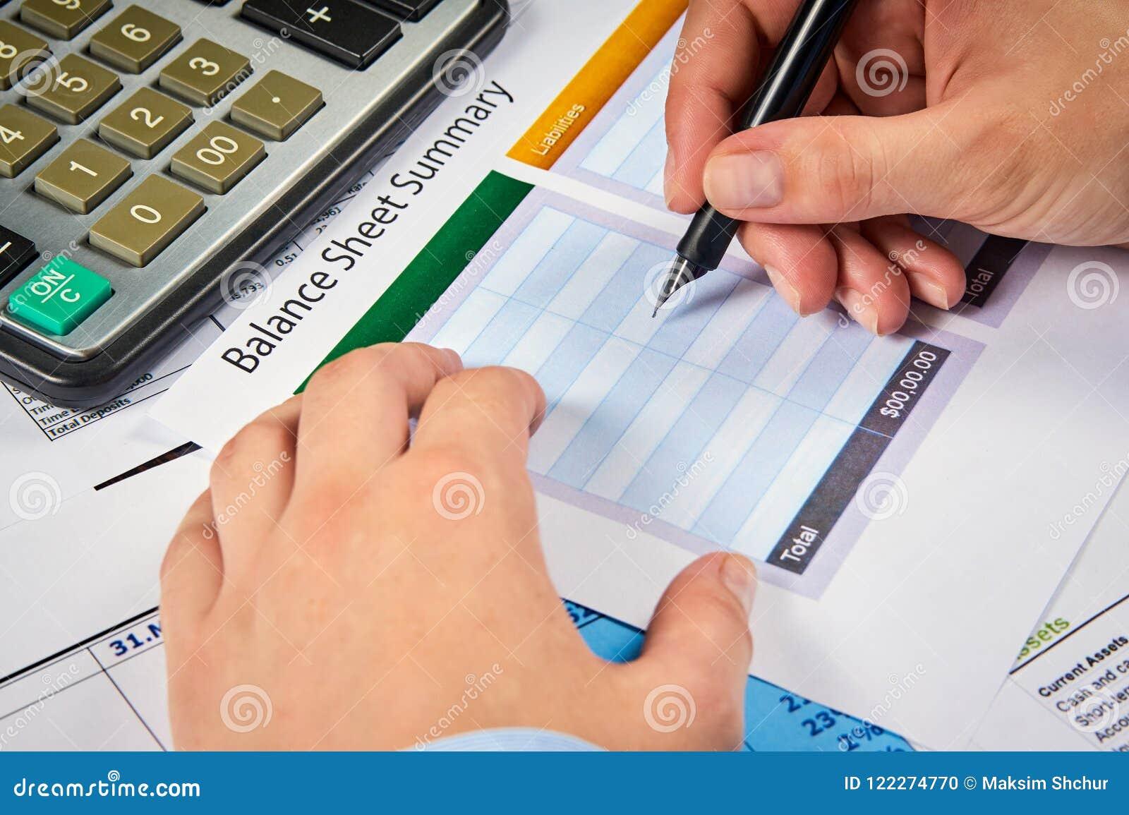 write in balance sheet summary stock photo image of accounts