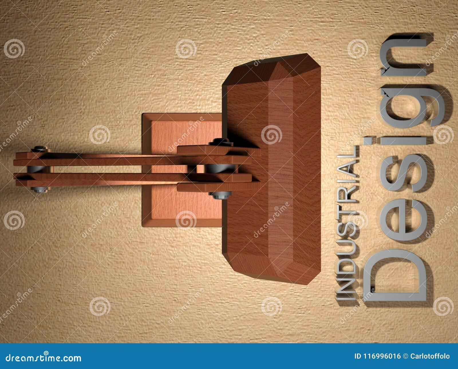 Industrial Design With Wooden Desk Lamp 3d Rendering Stock Illustration Illustration Of Idea Lamp 116996016