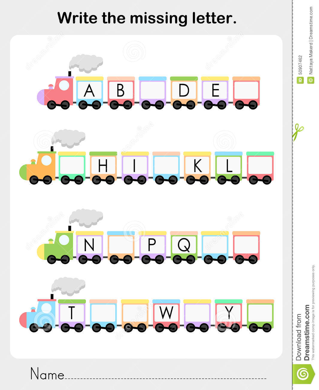 Write The Missing Letter - Worksheet For Education Stock Vector ...