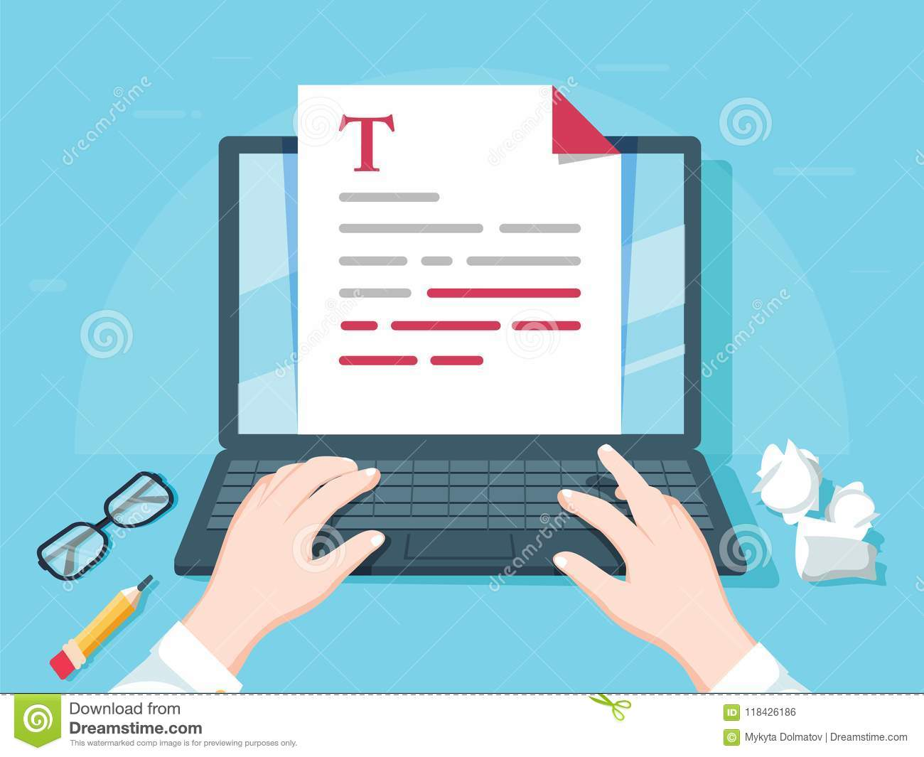 Writer writing on computer paper sheet vector illustration, flat cartoon person editor write electronic book text