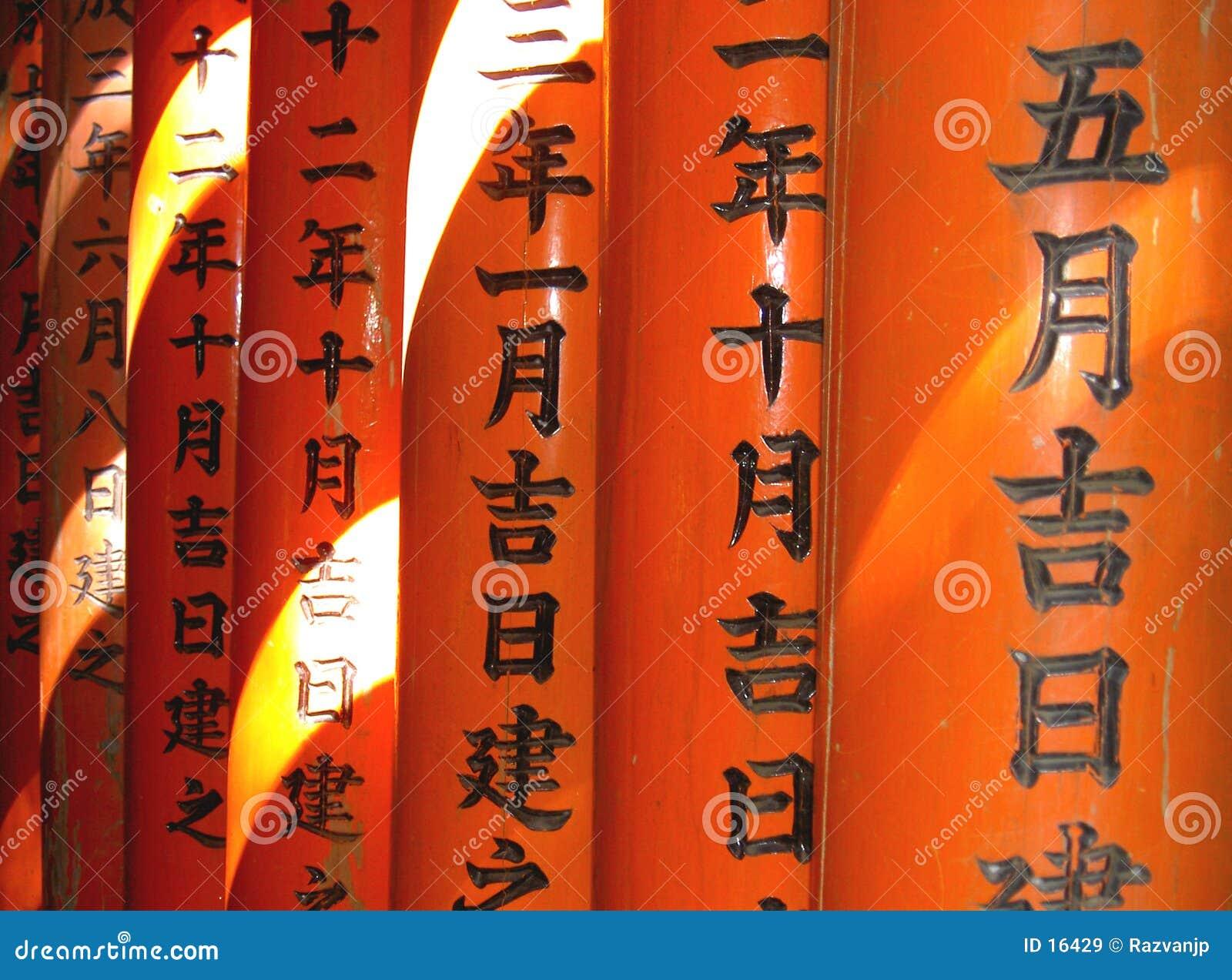 Writi de lumière, de couleur et de Japonais