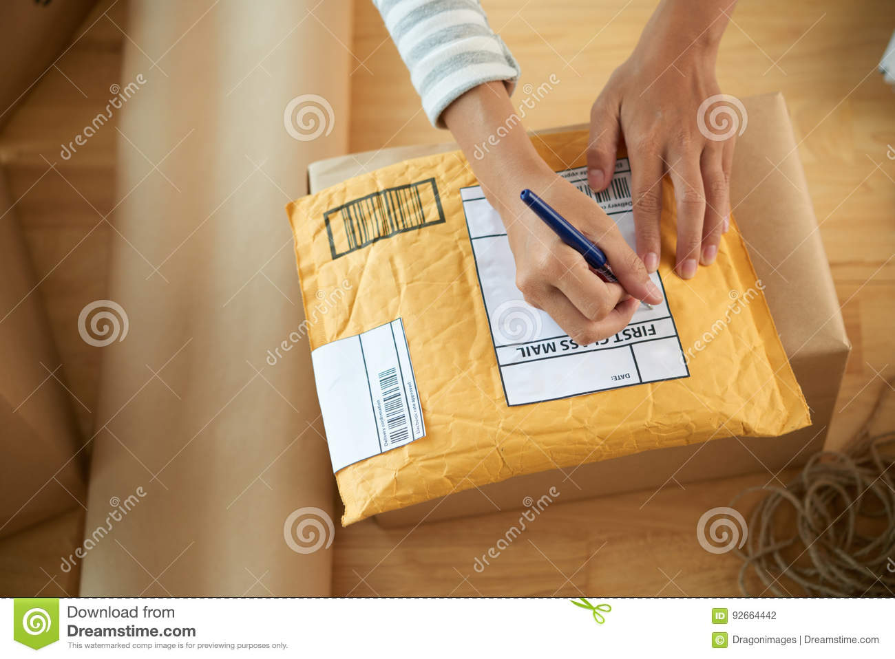 Writing Address Stock Photo Image Of Mail Package Wrapping 92664442