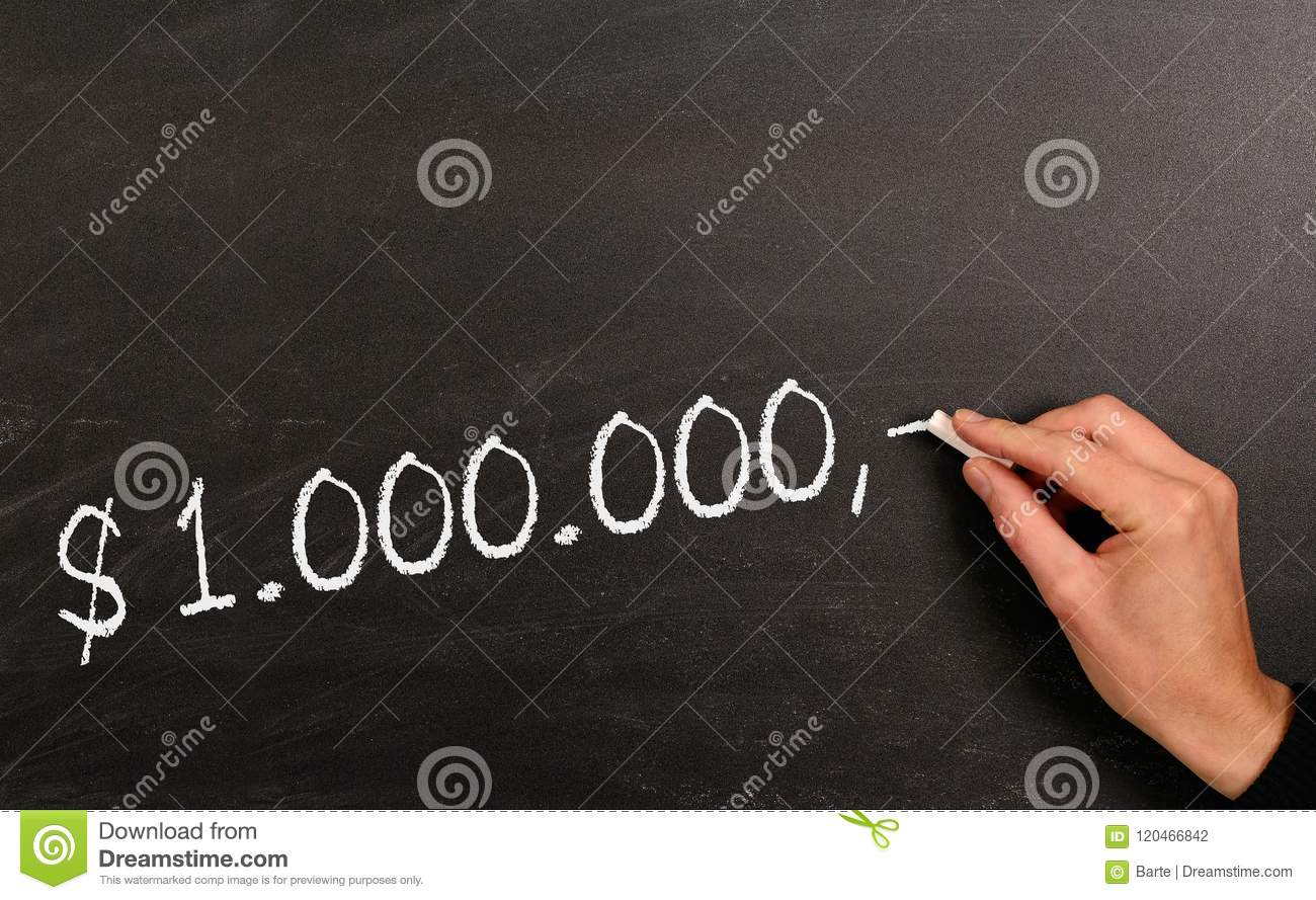 Writing On A Blackboard One Million Dollar Stock Photo Image Of