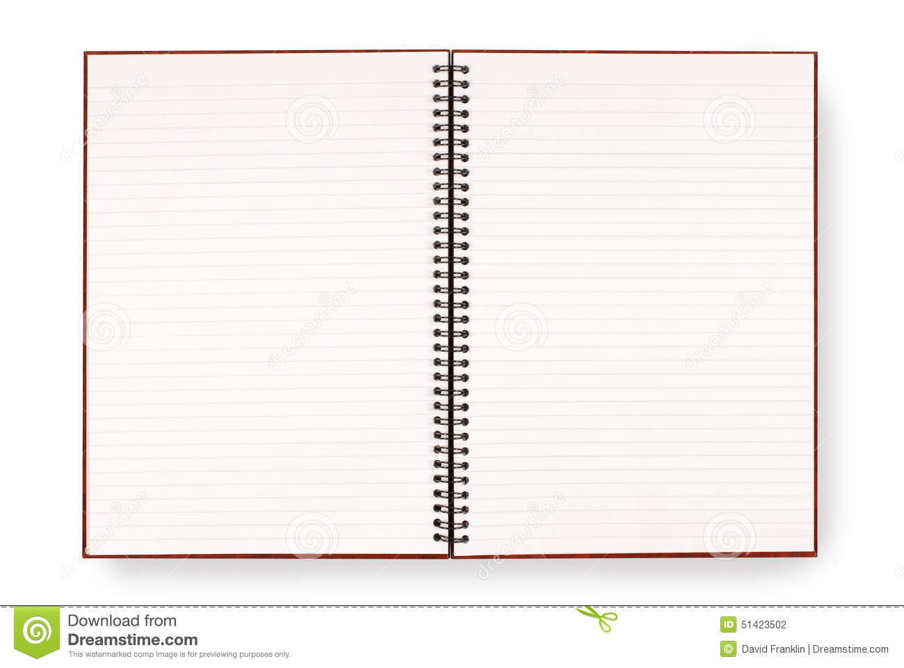 Blank Open Spiral Writing Book Or Notepad, Lined Paper, Isolated On White  Background  Free Lined Printable Paper