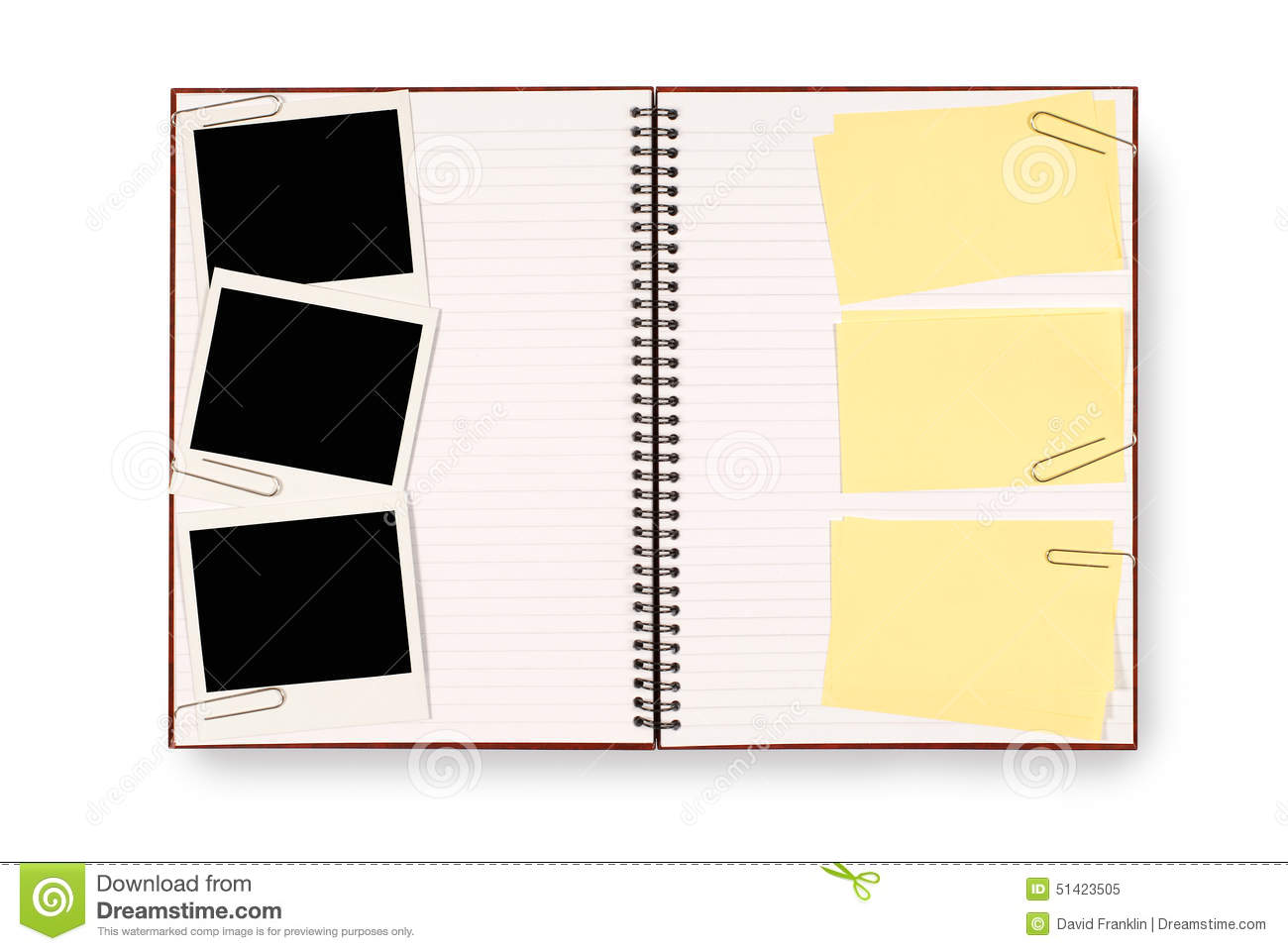 Photo Album Or Writing Book With Polaroid Photo Frames And Several ...