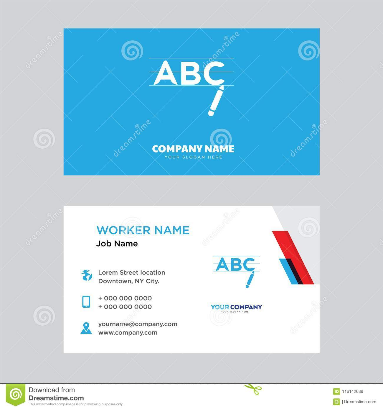 Writing business card design editorial stock image illustration of writing business card design template visiting for your company modern horizontal identity card vector colourmoves