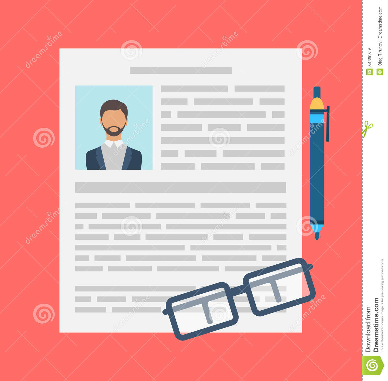 writing a business cv resume concept stock vector - illustration of