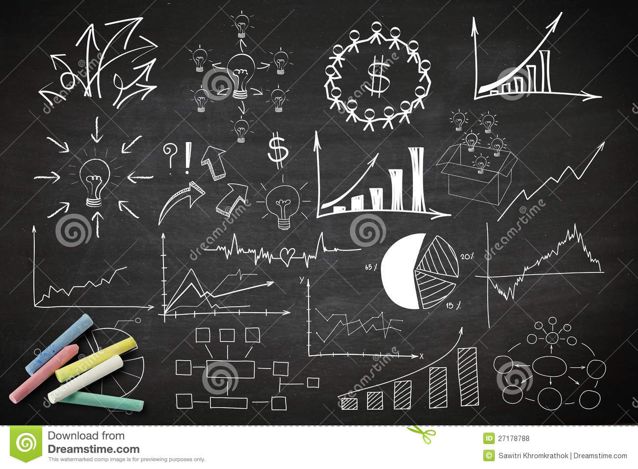 Writing business idea concept stock illustration