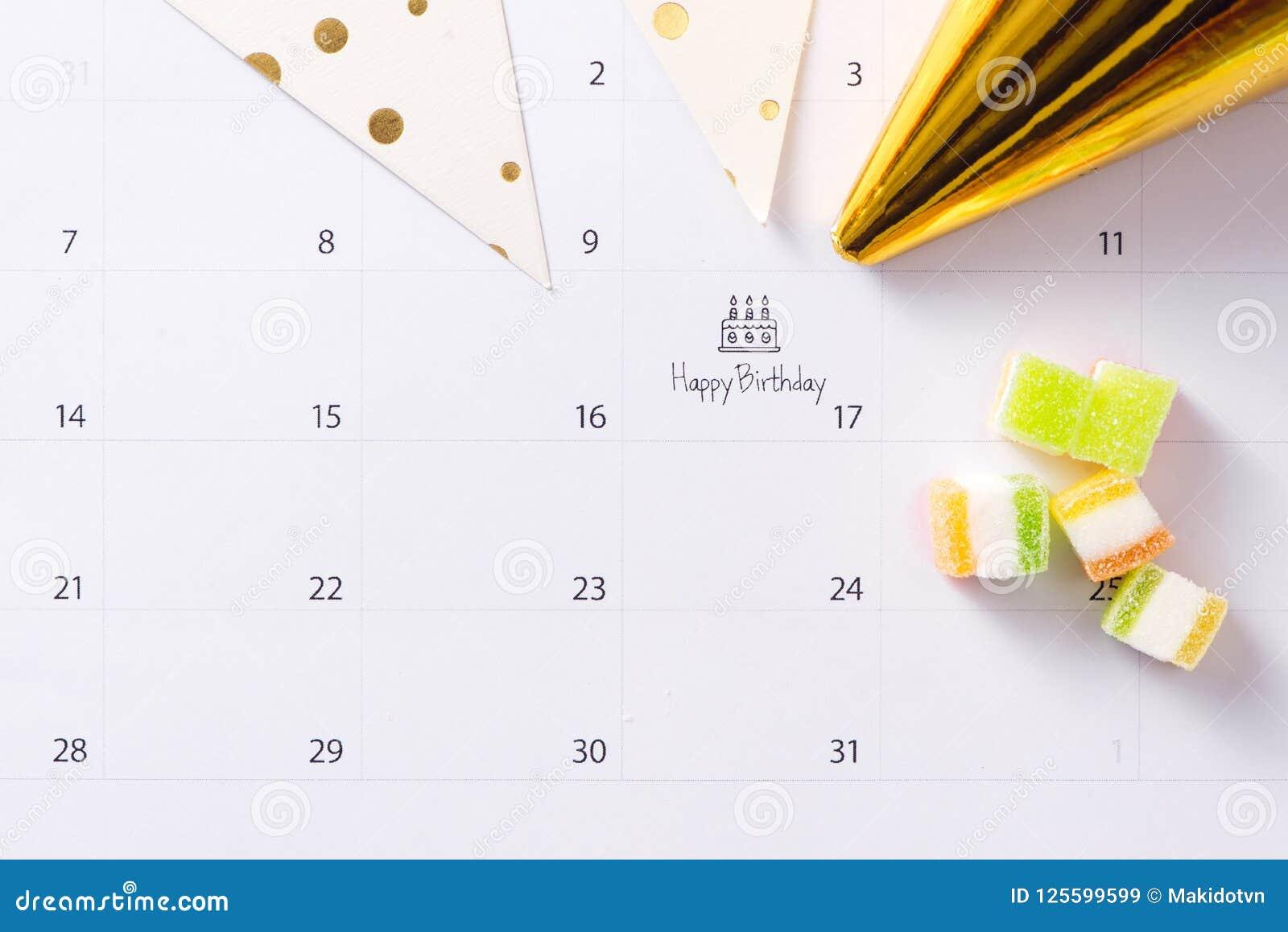 Writing Cake On Calendar Happy Birthday Stock Image Image Of Flat