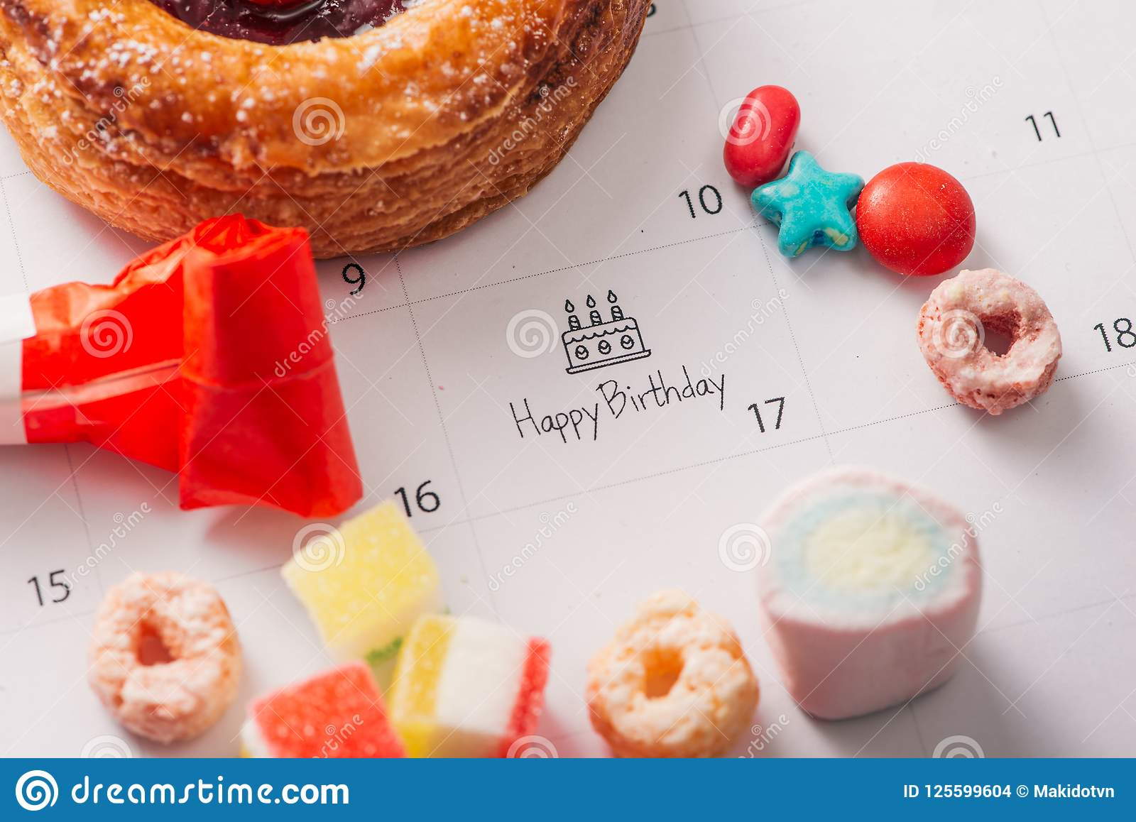 Writing Cake On Calendar Happy Birthday Stock Photo Image Of Sweet