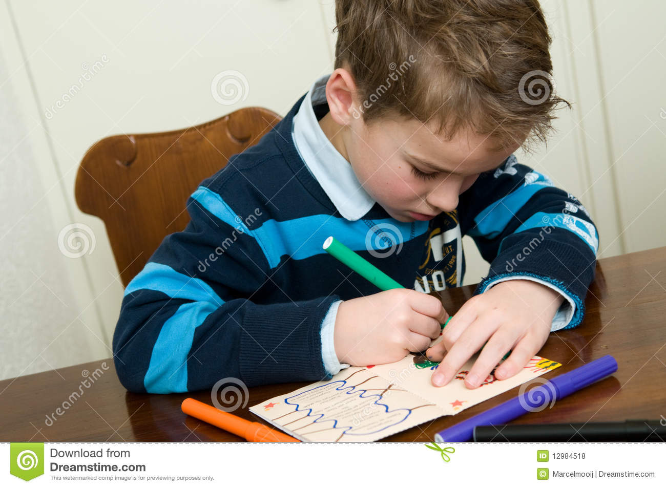 writing and drawing boy stock photo image of youth paper