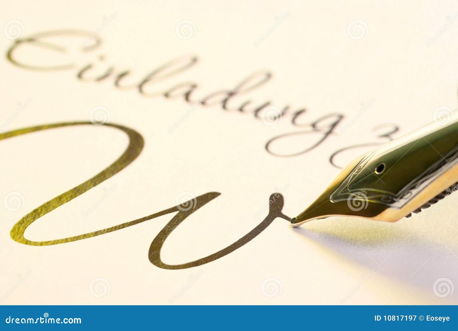 Writing fountain pen royalty free stock photography Writing calligraphy with a fountain pen