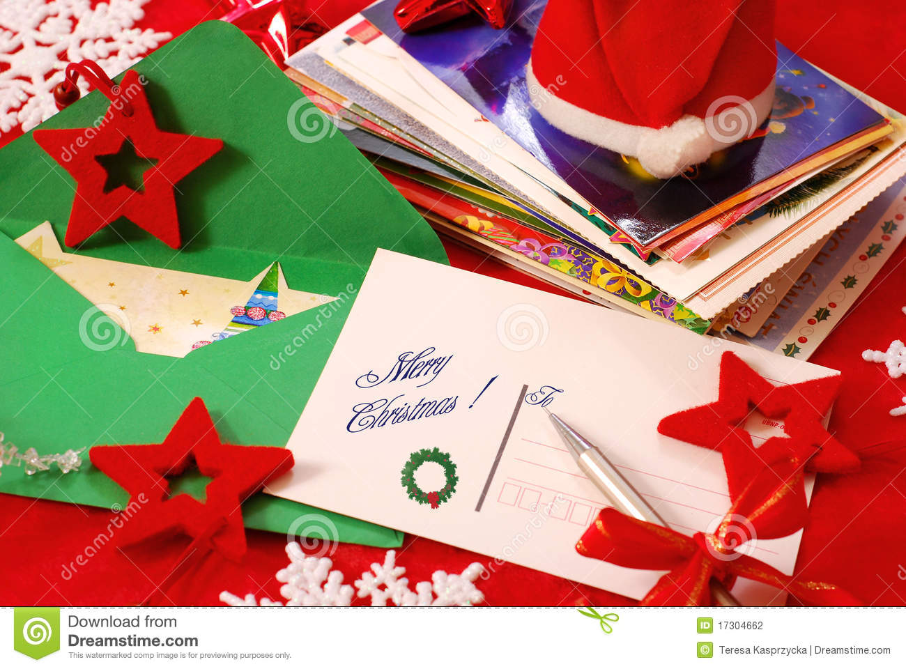 Writing Greeting Cards For Christmas Stock Photography