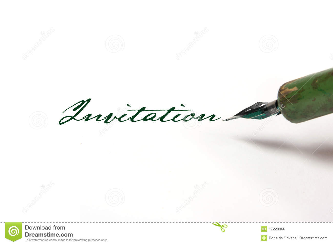 Writing invitation with quill pen stock photo image of green writing invitation with quill pen stopboris Choice Image