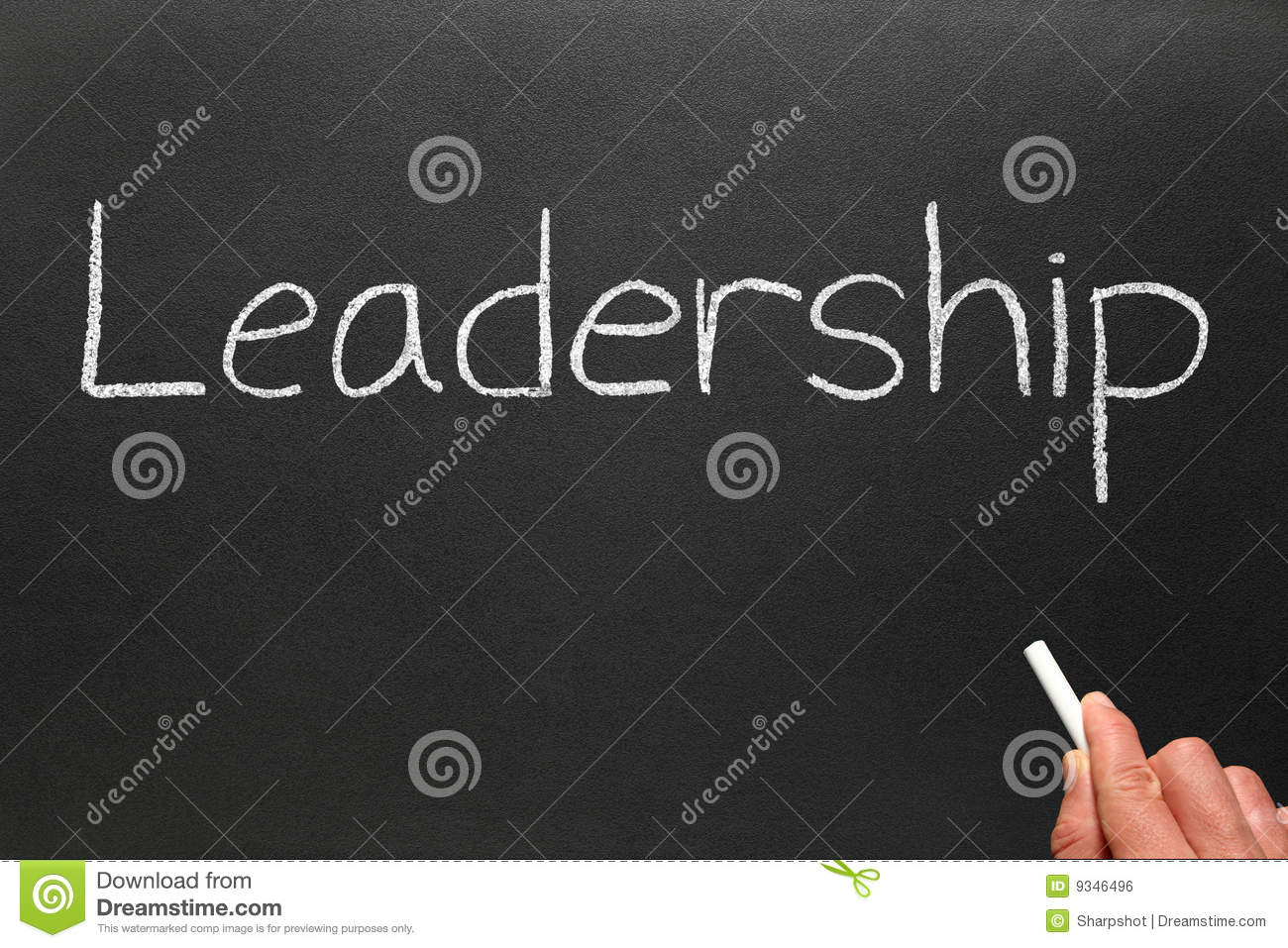 bockbord ritning ~ writing leadership on a blackboard royalty free stock