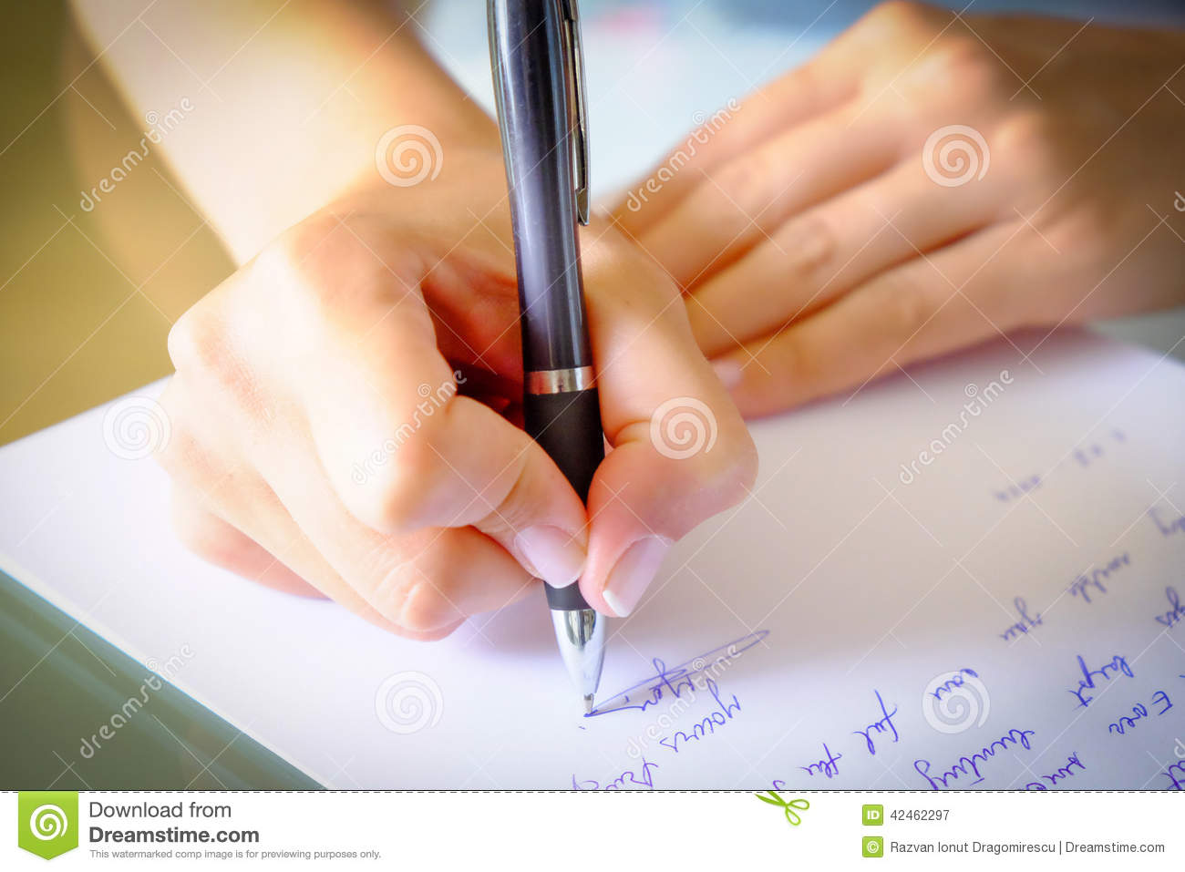 Woman writing letter stock photos
