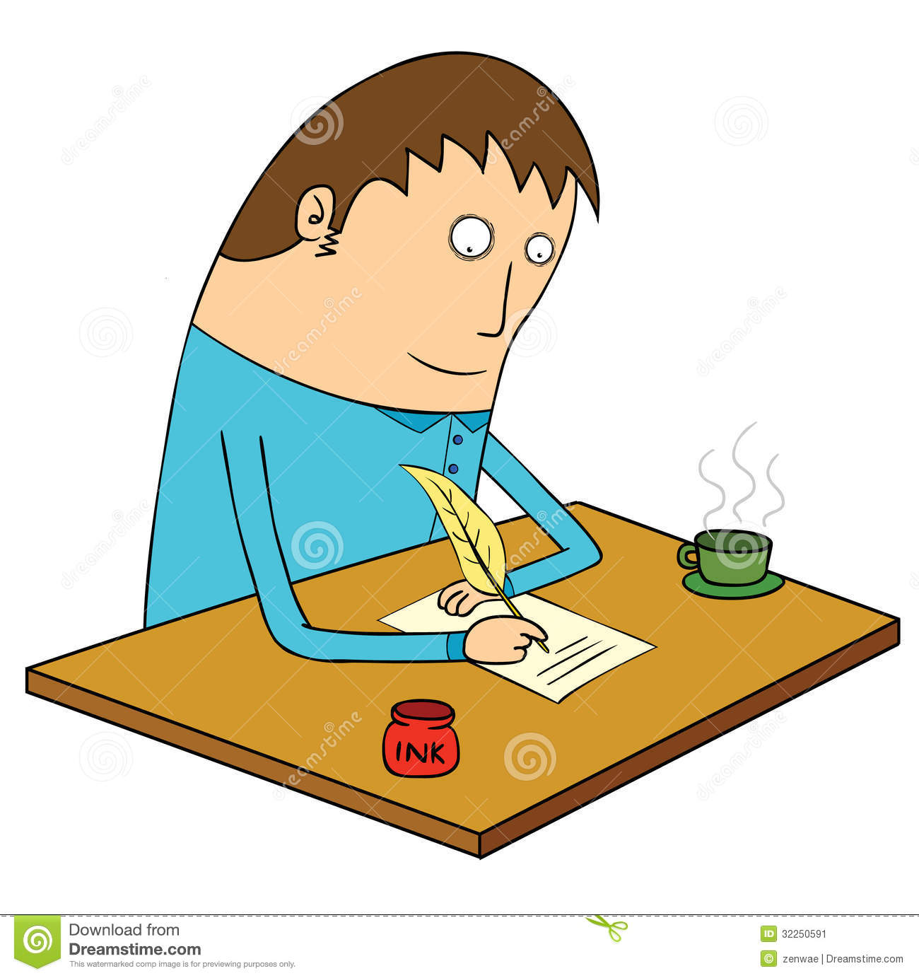 Writing Letter Stock Vector. Illustration Of Concentration