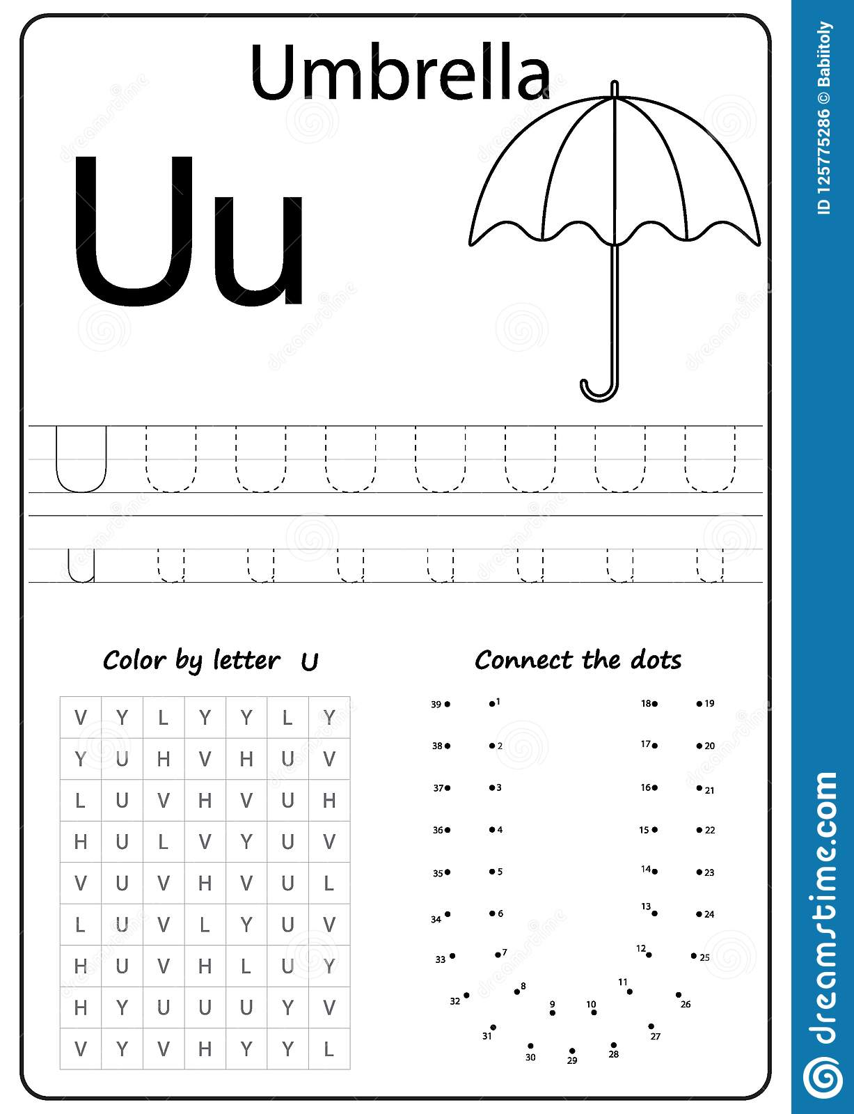 Writing Letter U. Worksheet. Writing A-Z, Alphabet ...