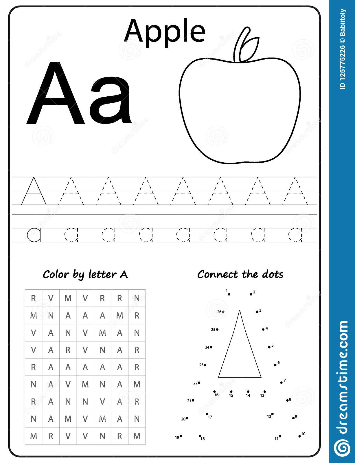 Writing Letter A. Worksheet. Writing A-Z, Alphabet ...