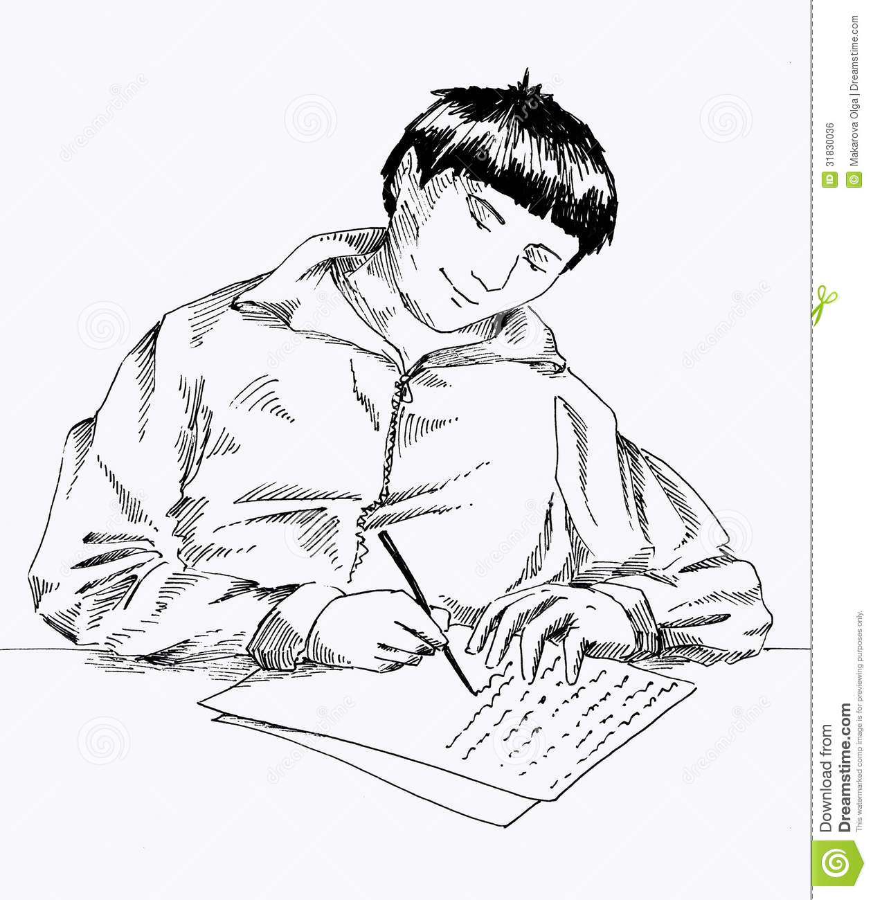 Young Man Sitting At The Table And Writing A Letter Ink Drawing