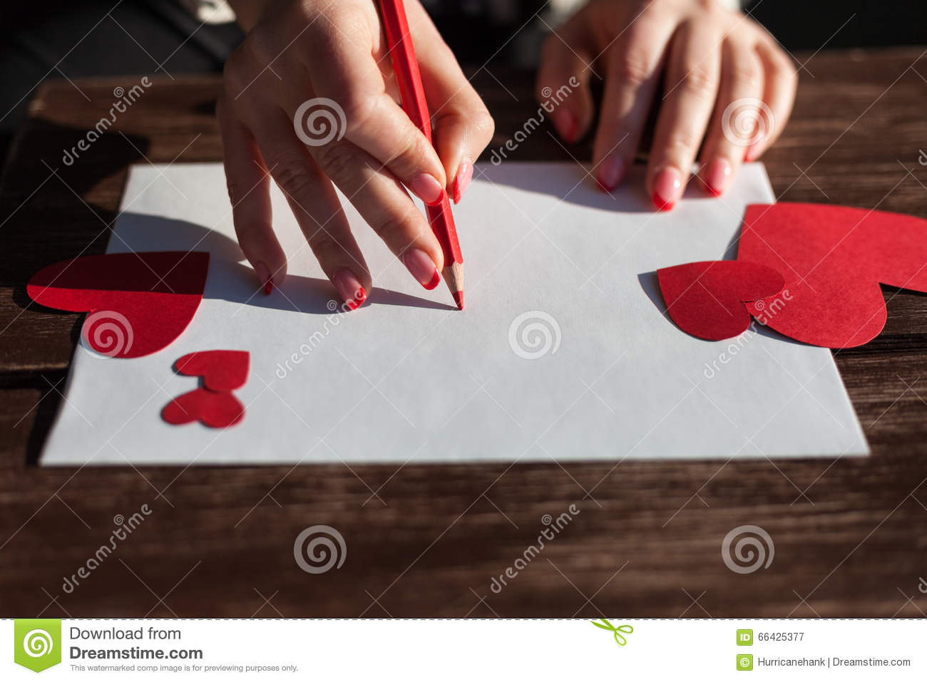 Writing A Love Letter For Saint Valentines Day Stock Image Image