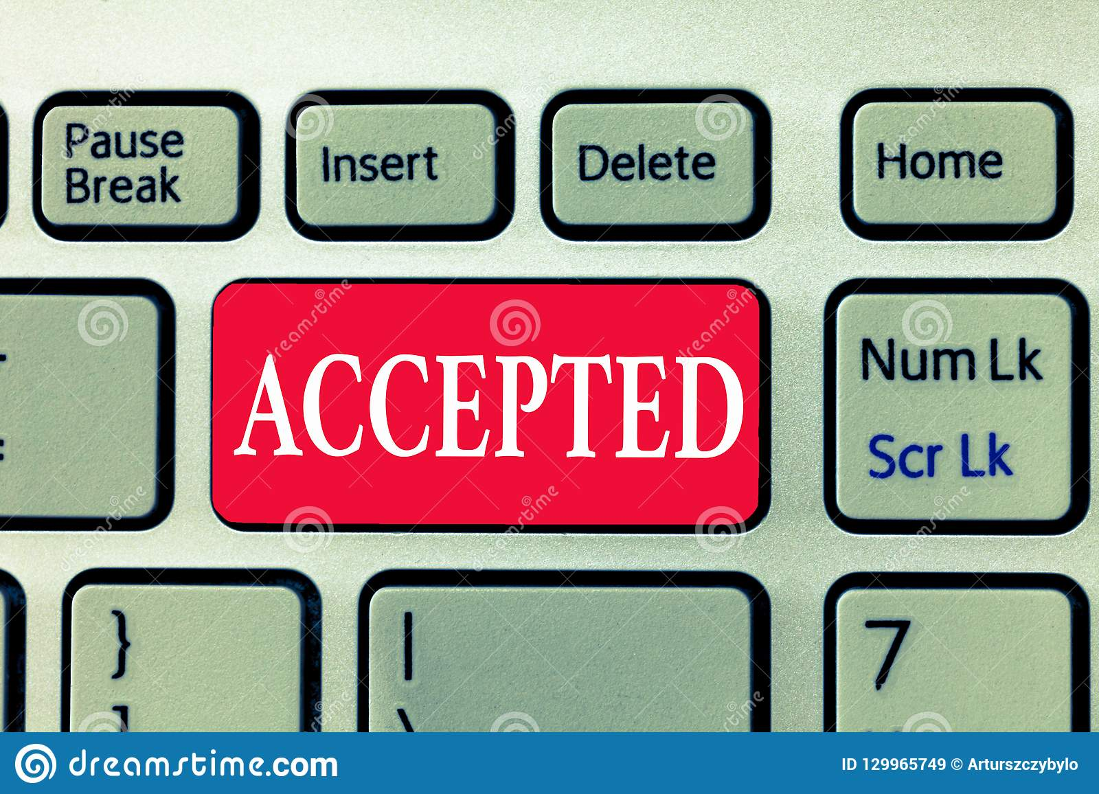 Writing note showing Accepted. Business photo showcasing Agree to do or give something Approval Permission Confirmation