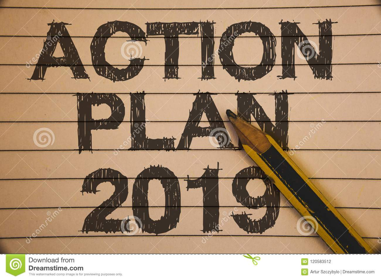 Writing Note Showing Action Plan 2019. Business Photo ...