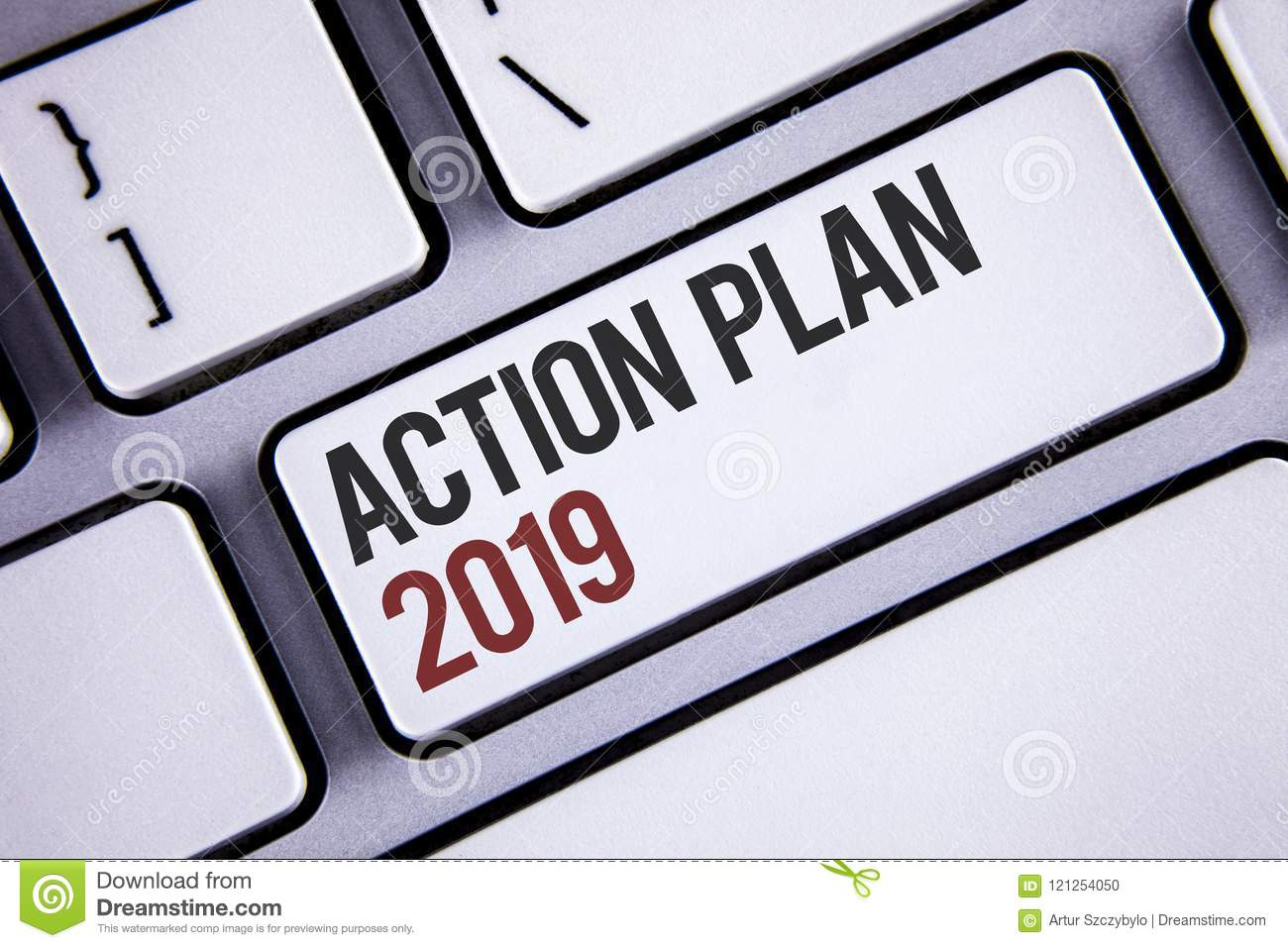 Writing Note Showing Action Plan 2019. Business Photo Showcasing ...