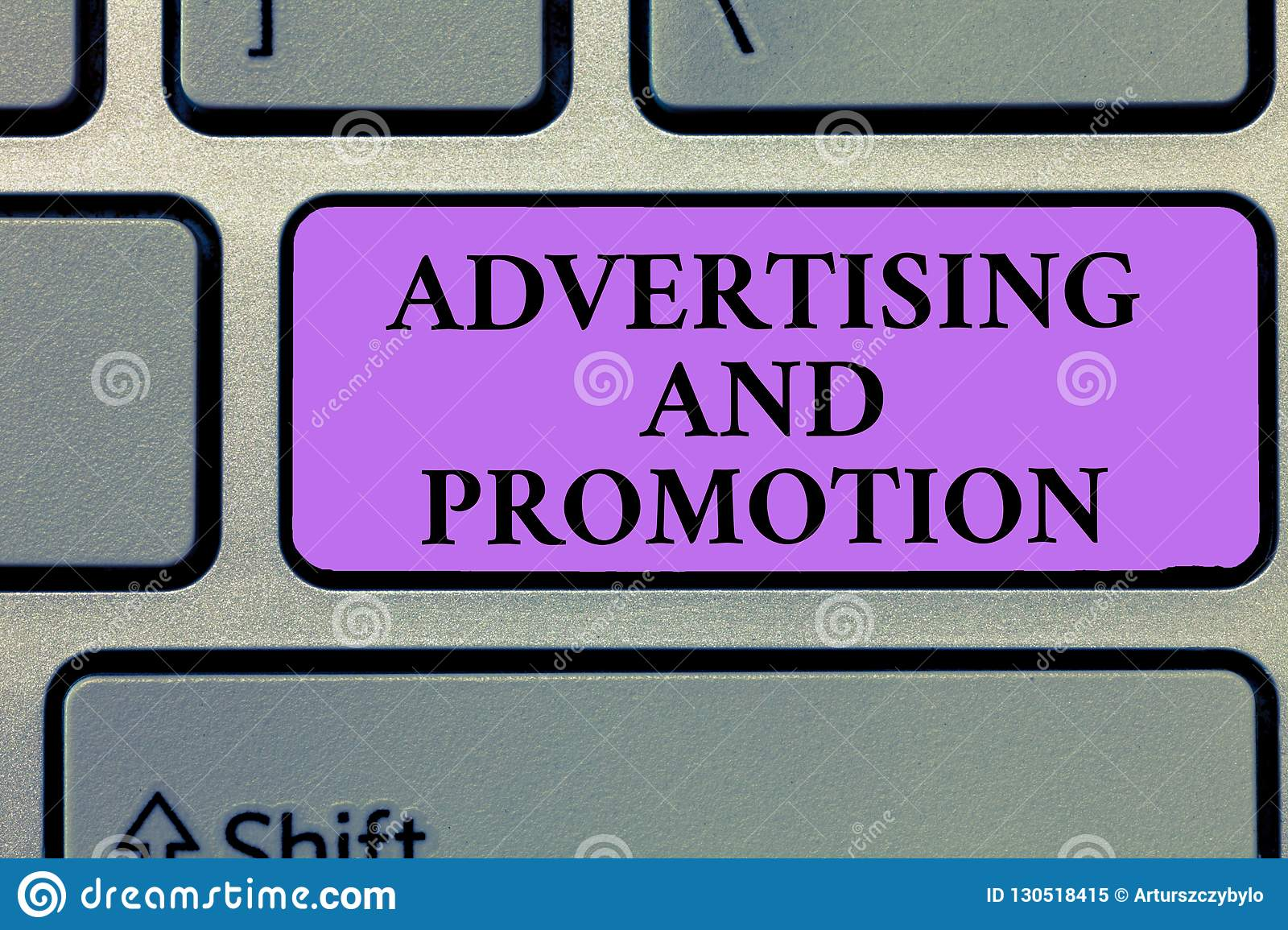 Writing note showing Advertising And Promotion. Business photo showcasing Controlled and Paid marketing activity in media
