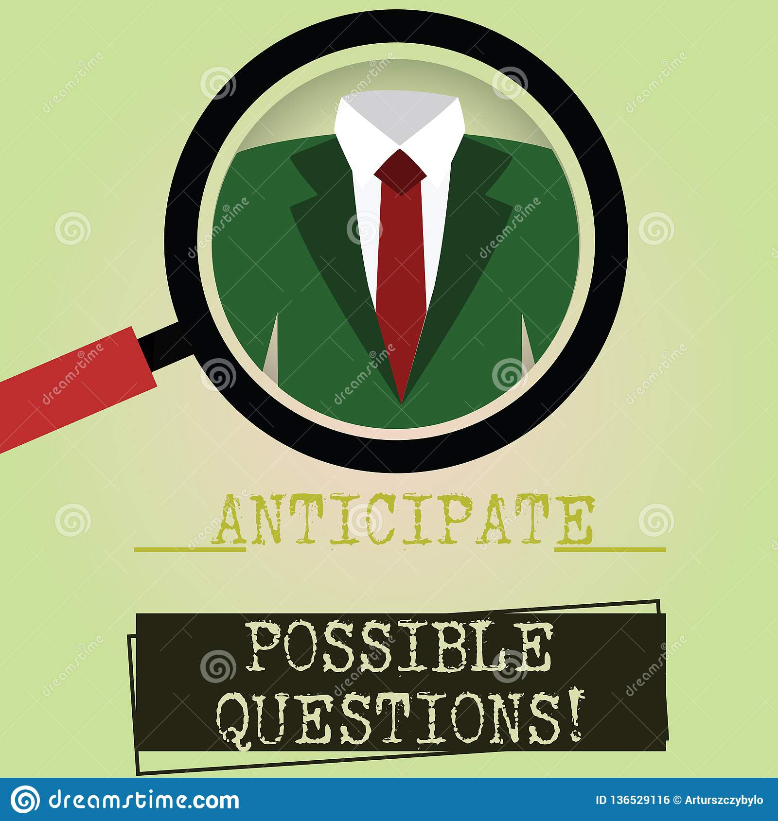 Writing note showing Anticipate Possible Questions. Business photo showcasing Expect or look forward for an interrogation