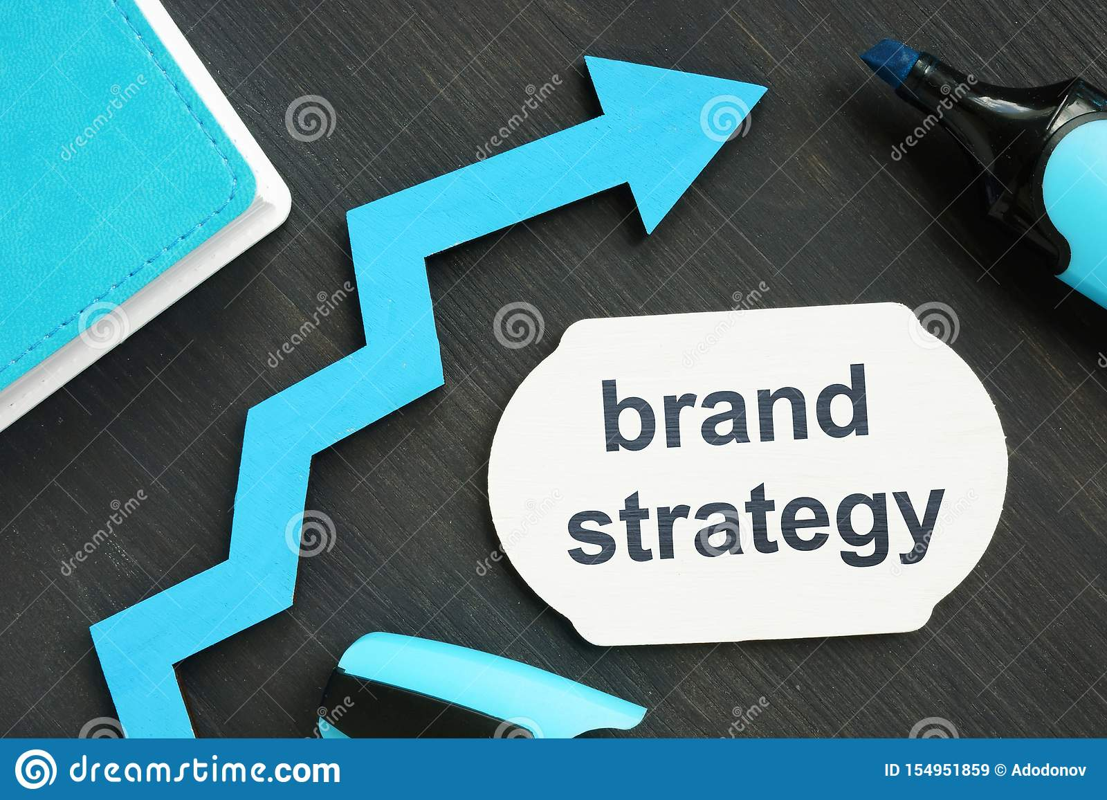 Writing note showing brand strategy. The text is written on a small blue wooden board. Diagram, marker, wooden background are on