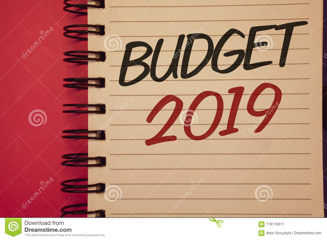 writing note showing budget 2019 business photos showcasing new year estimate of incomes and expenses