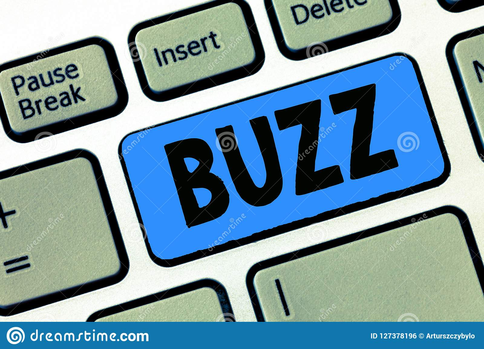 Writing note showing Buzz. Business photo showcasing Move quickly Atmosphere of excitement and activity Rumor Telephone