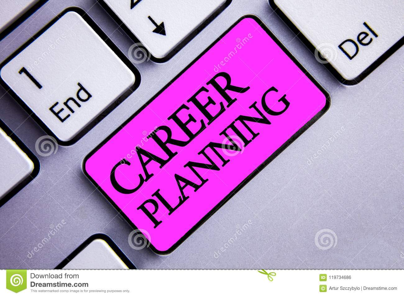Writing note showing Career Planning. Business photo showcasing Professional Development Educational Strategy Job Growth Text two