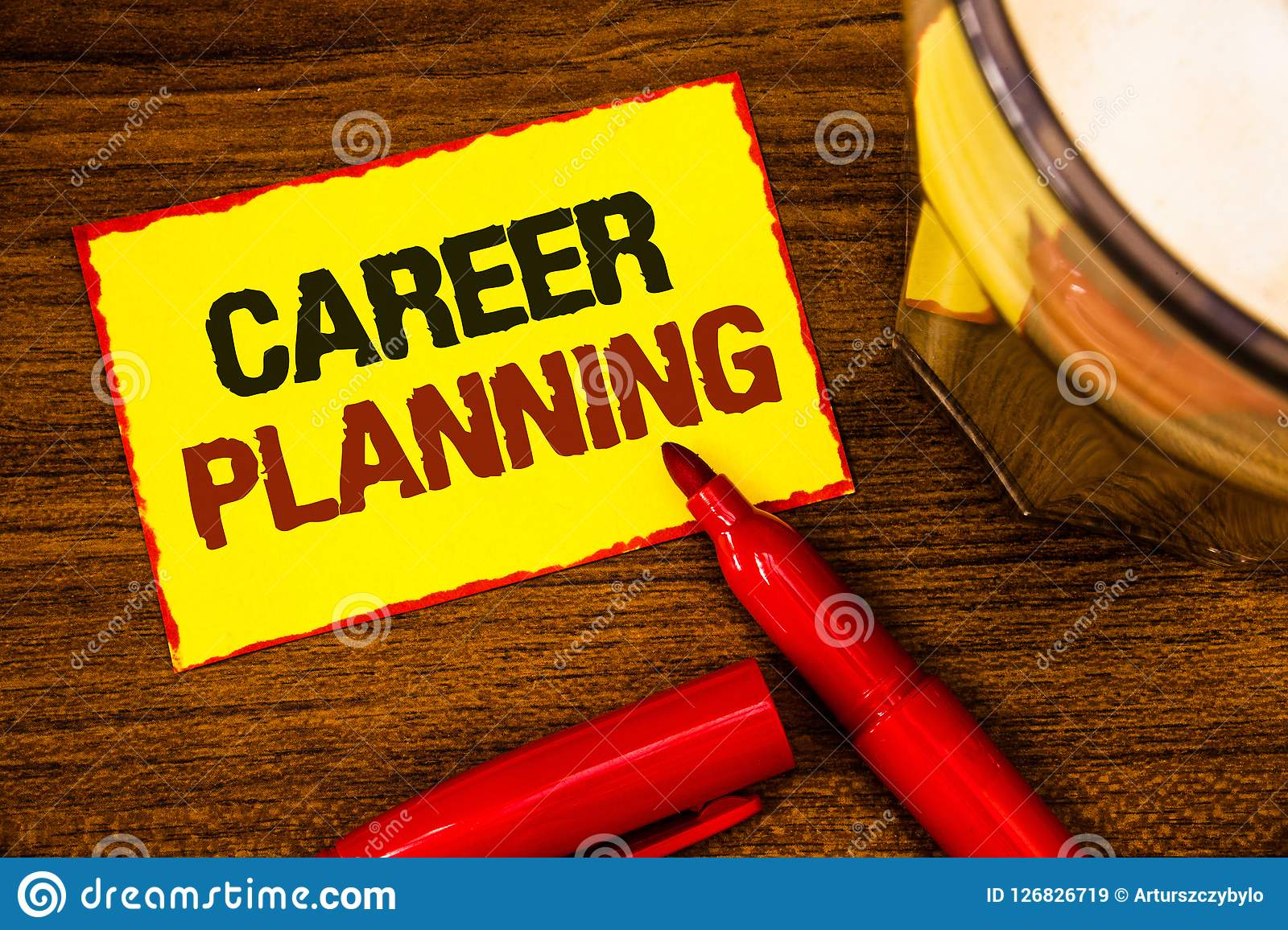 Writing note showing Career Planning. Business photo showcasing Professional Development Educational Strategy Job Growth Words ye