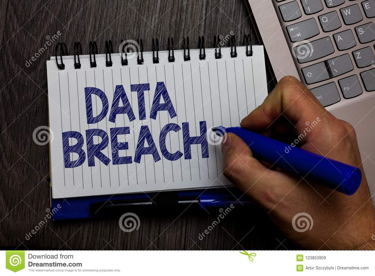 Writing note showing Data Breach. Business photo showcasing security incident where sensitive protected information copied Man hol