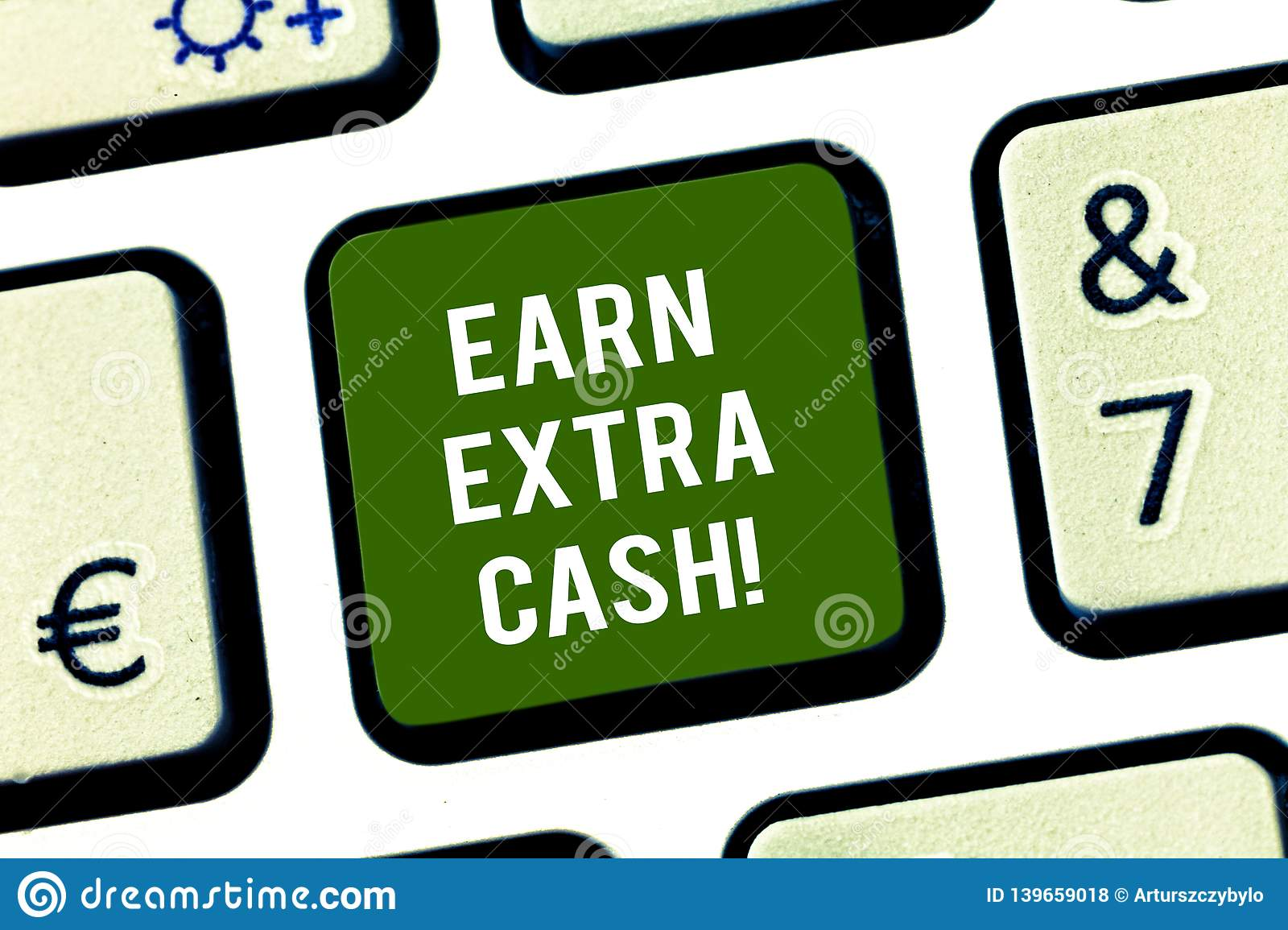 Writing note showing Earn Extra Cash. Business photo showcasing Make additional money more incomes bonus revenue