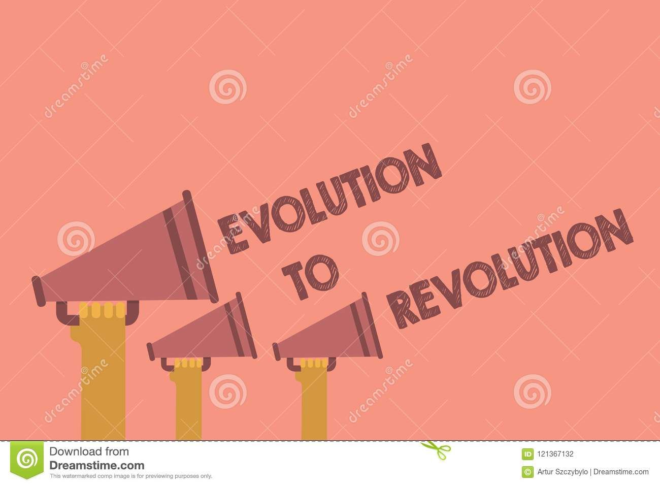 Writing Note Showing Evolution To Revolution  Business Photo