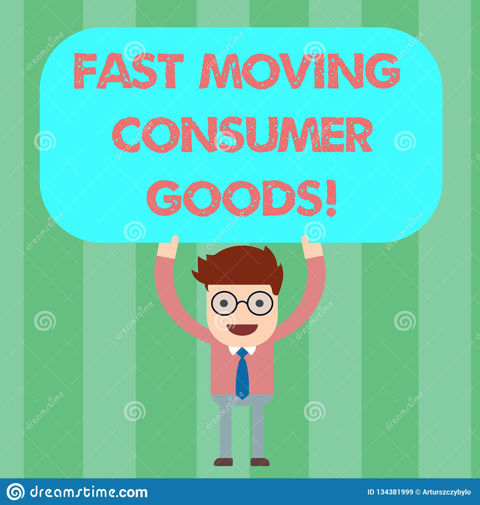 Writing note showing Fast Moving Consumer Goods. Business photo showcasing High volume of purchases Consumerism retail Man