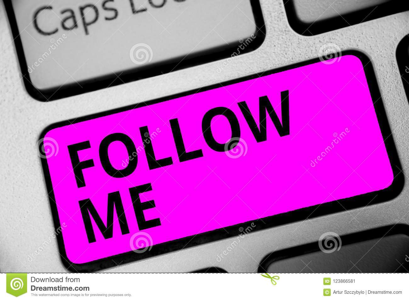 Writing note showing Follow Me. Business photo showcasing Inviting a person or group to obey your prefered leadership Keyboard pur