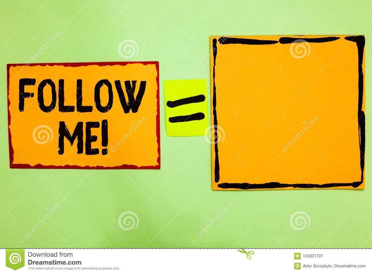 Writing note showing Follow Me. Business photo showcasing Inviting a person or group to obey your prefered leadership Orange paper