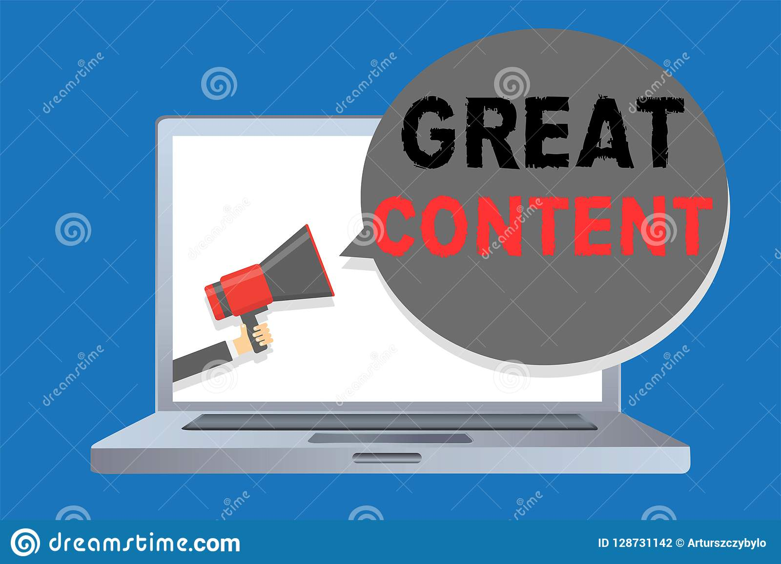 Writing note showing Great Content. Business photo showcasing Satisfaction Motivational Readable Applicable Originality
