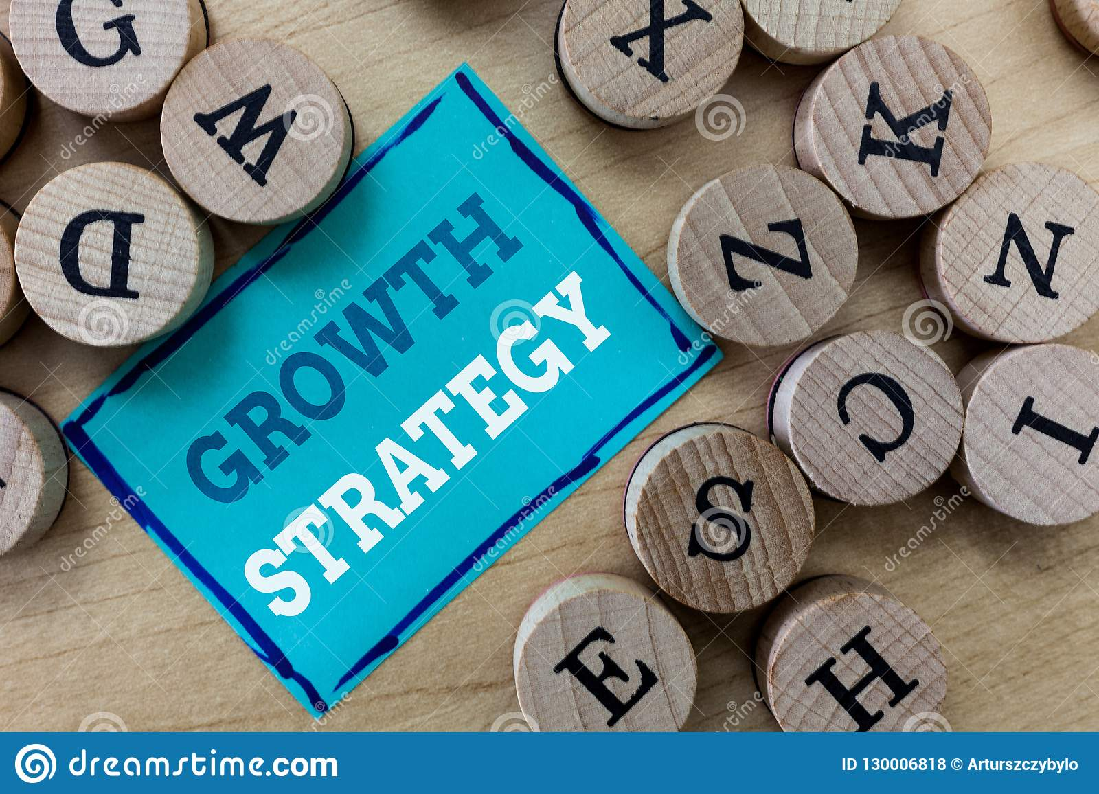 Writing note showing Growth Strategy. Business photo showcasing Strategy aimed at winning larger market share in