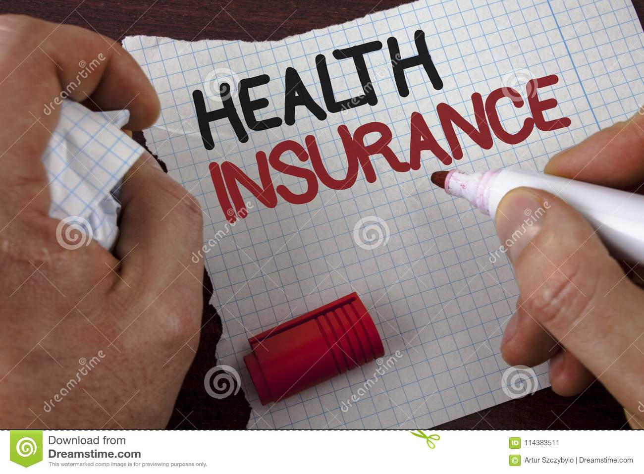 Writing note showing Health Insurance. Business photo showcasing Health insurance information coverage healthcare provider writte