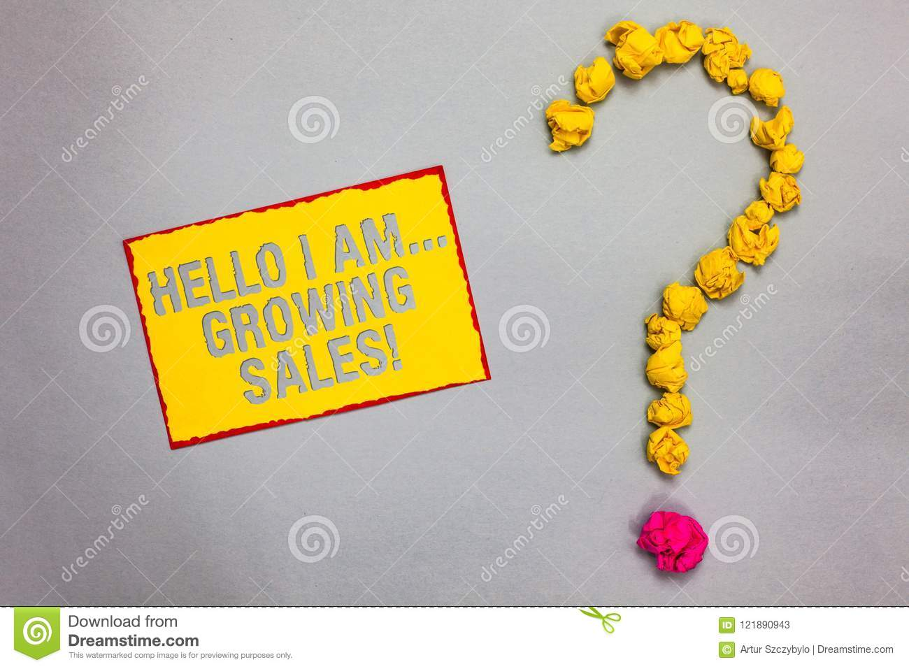Writing note showing Hello I Am... Growing Sales. Business photo showcasing Making more money Selling larger quantities Red border