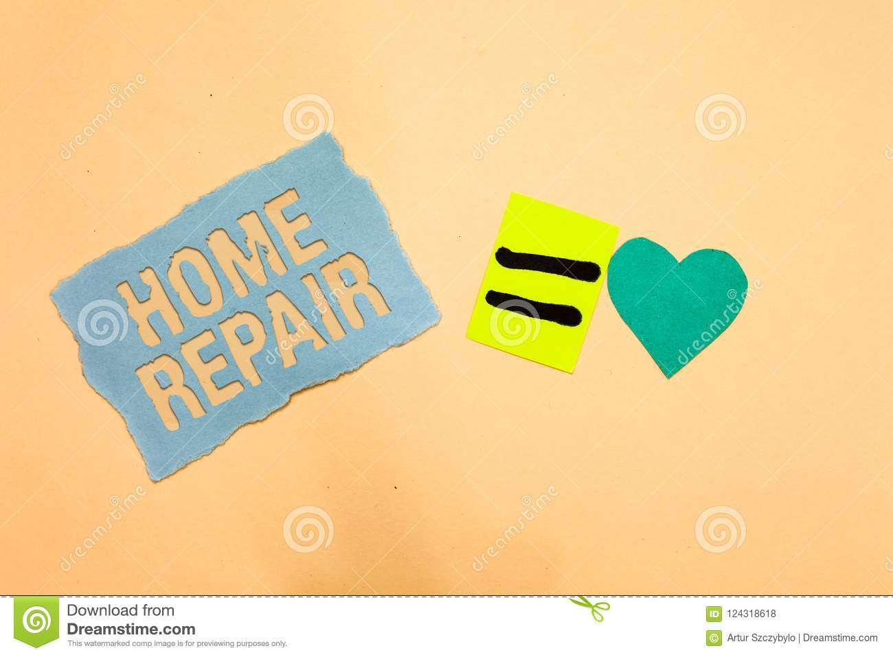Writing note showing Home Repair. Business photo showcasing maintenance or improving your own house by yourself using tools Blue p