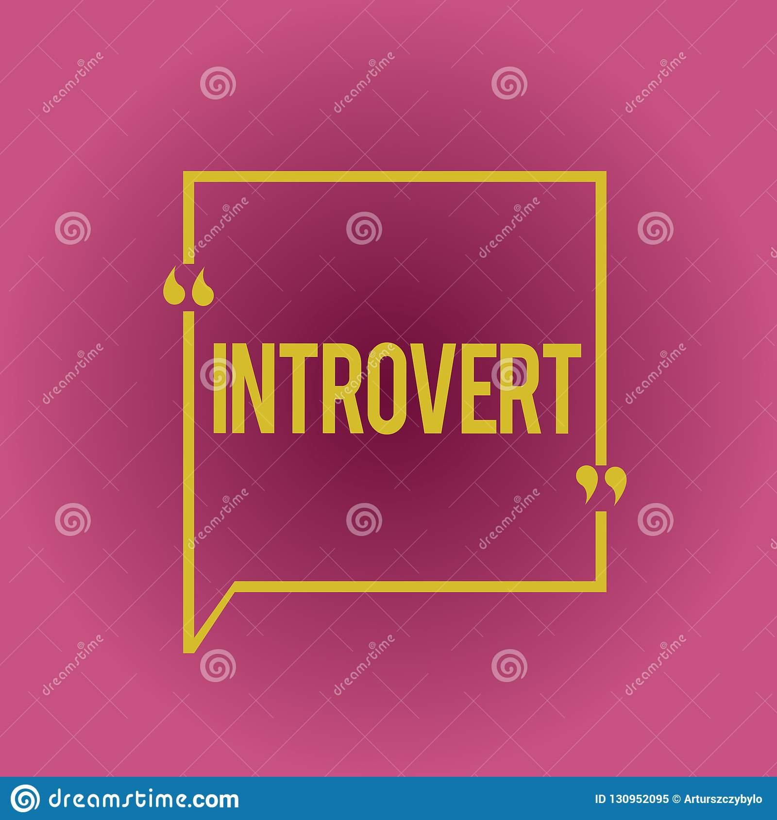 Writing note showing Introvert. Business photo showcasing tend to be inward turning or focused more internal thoughts