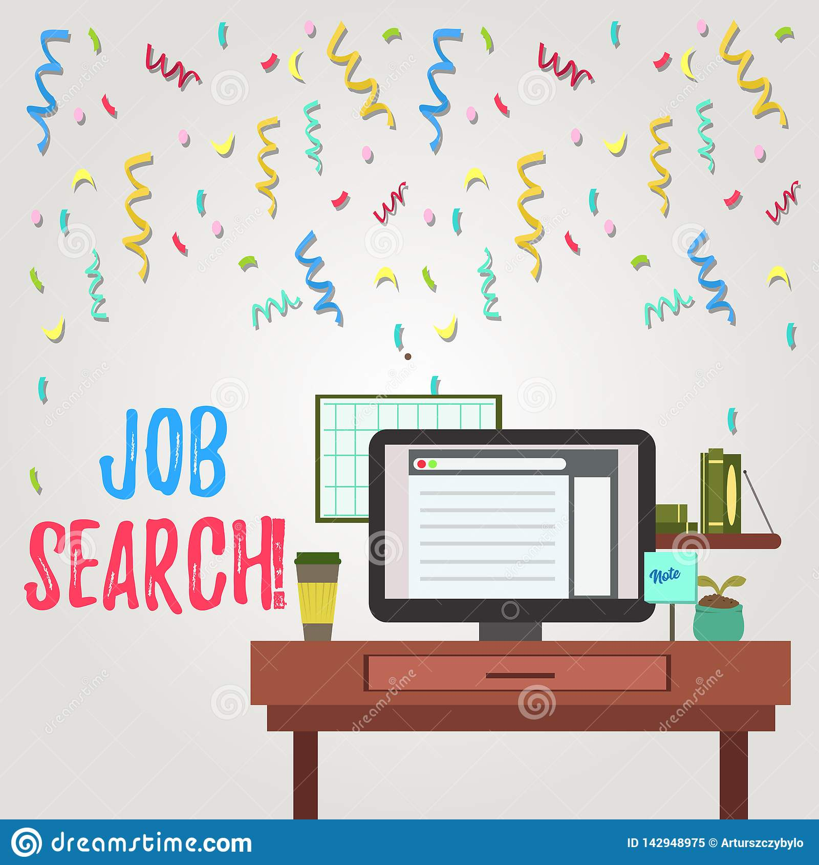 Writing note showing Job Search. Business photo showcasing act of looking for employment due to unemployment