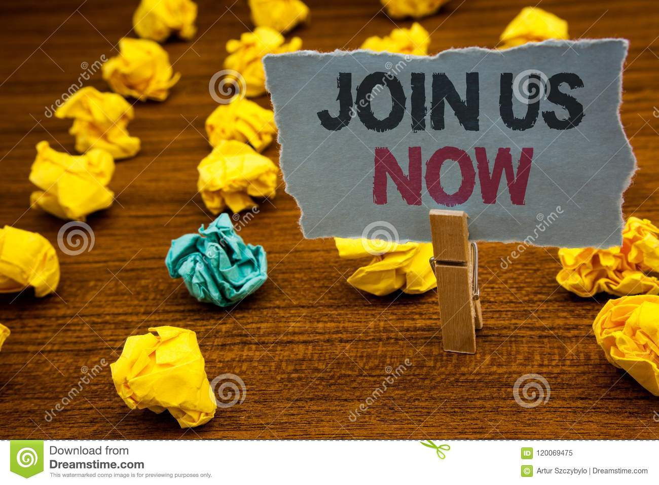 Writing note showing Join Us Now. Business photo showcasing enroll community register website Recruit someone Sign-up Cardboard w